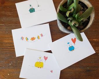 Cute Baby Bird Blank Notecards, Blank Handmade Stationary Cards with birds, little handmade notecards, cute gift ideas, cards with birds