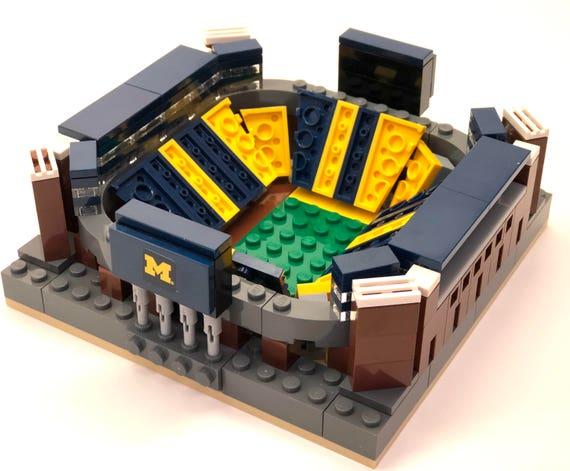 Mini Michigan Stadium Custom Brick Set With Printed Etsy
