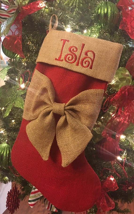 Christmas Stocking Personalized Christmas Stockings Monogrammed Stockings Red Christmas Stockings Rustic Christmas Burlap Decorations
