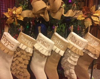 Christmas Stocking, monogrammed Stocking,Unique wedding gift, house warming gift, Burlap Stockings, Burlap Christmas Stockings, farm house