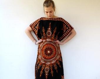 9489bfd18b7dc Dashiki Dress, Vintage 70s Boho Maxi Ethnic Indian Kaftan Caftan Cotton Dress  Black Hippie Hippy // S