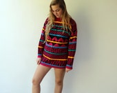 Geometric Sweater, Vintage 80s 90s Knit Boho Hippie Pink Pullover Blouse Top Shirt Colorful Striped Sweater Dress O.S