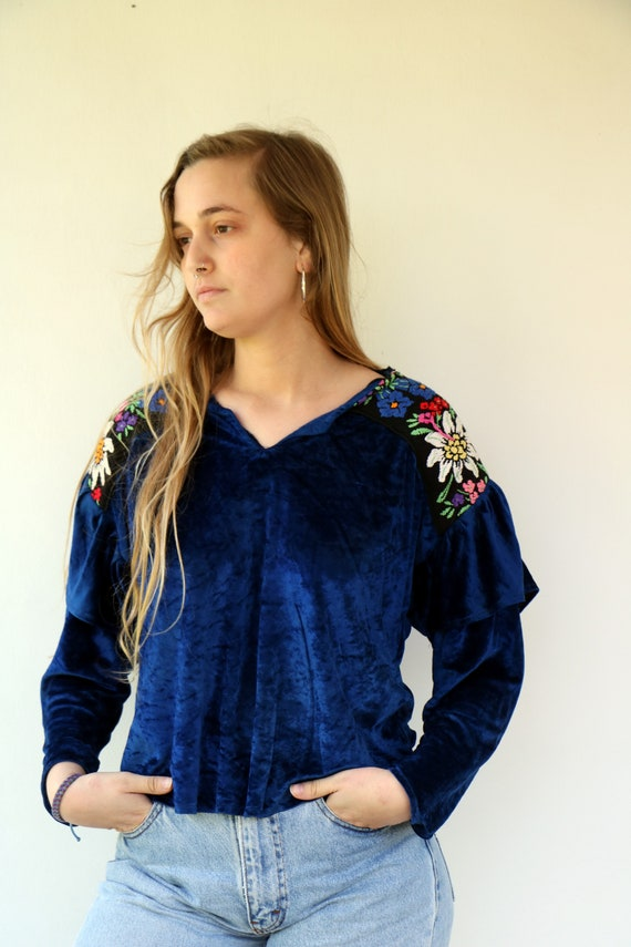 1990/'s Vintage Brown Embroidered Women Blouse Tunic Velvet Pullover Casual Style Boho Bohemian Hippie Everyday Button up Size LXL