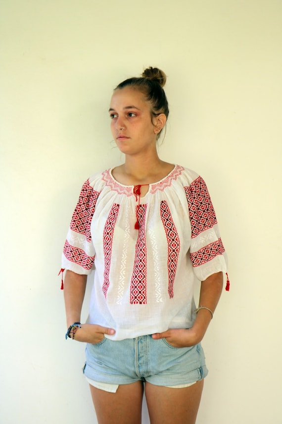 Romanian Blouse, 60s Vintage Hand Embroidered Shir