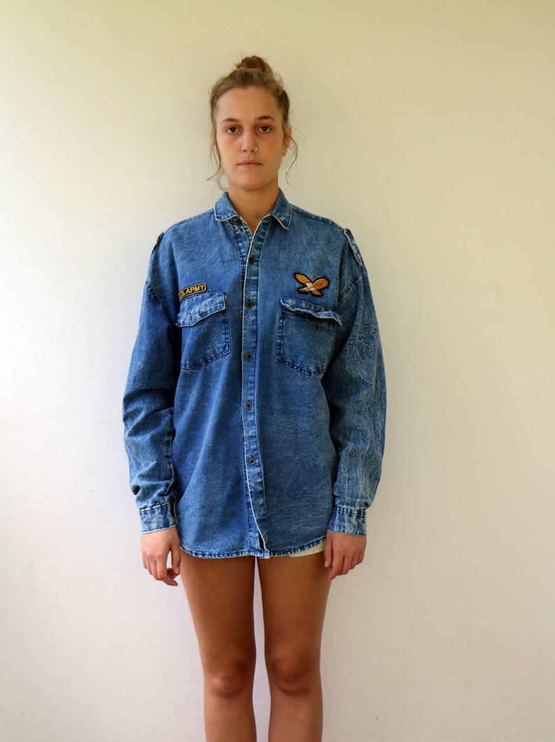 6051d411f6 Vintage Denim Jean Shirt 80s Acid Wash Boho Hippy Patches