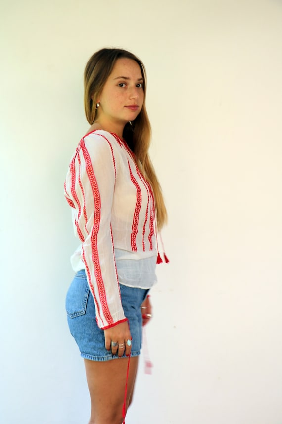 Romanian Blouse, Vintage 60s Hand Embroidered Shi… - image 8