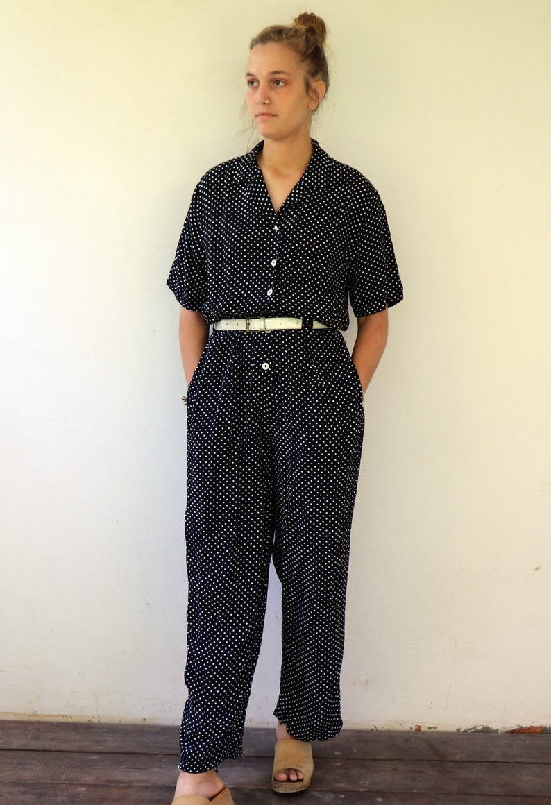 27977ecd89f5 80s Jumpsuit Vintage Polka Dot Jumpsuit Black And White Boho