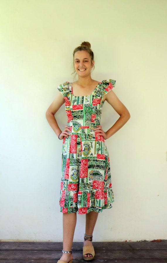 70s Pinafore Ruffle Dress //S