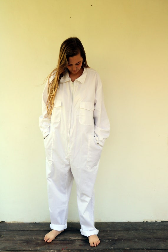 White Cotton Coveralls, Vintage Boiler Suit Workwe