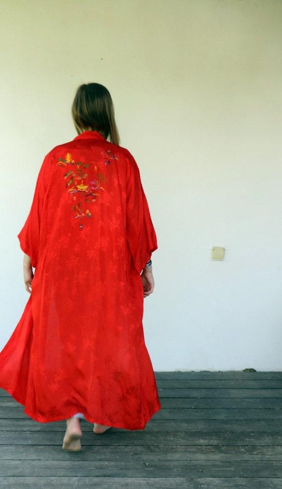 Golden Dragon Kimono, Vintage 80s Red Hand Embroid