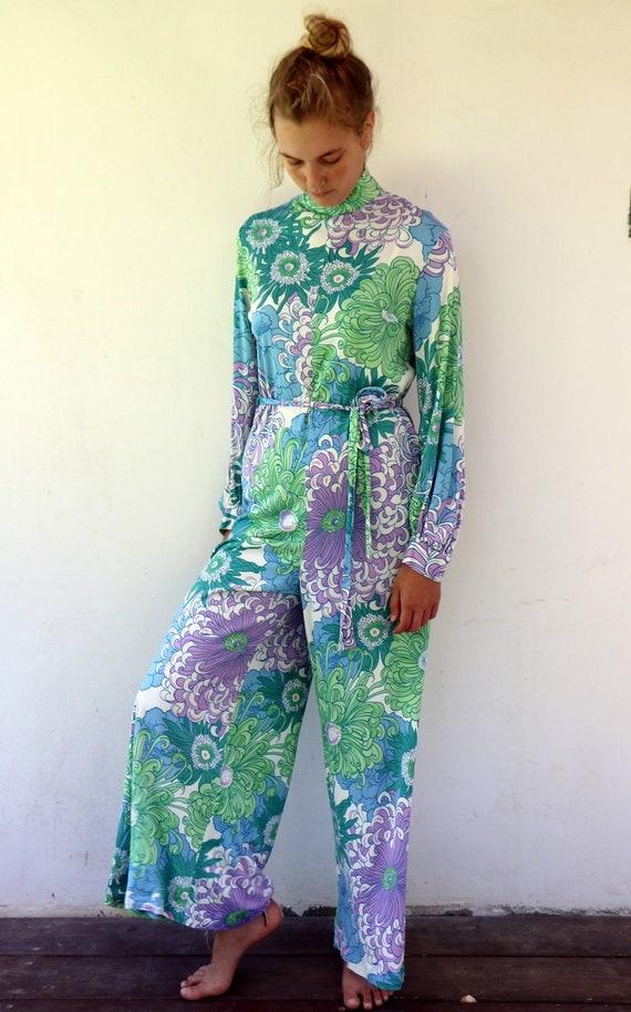 ff5f1d86f99f 60s Mod Jumpsuit Vintage 1960s Boho Wide Leg Palazzo Pant