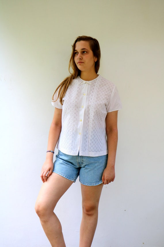 White Eyelet Blouse, Vintage 50s Lace Embroidered