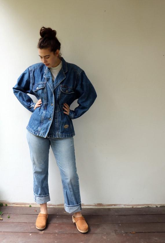 acid wash vintage denim summer top 1980s 1990s BLUE JEAN Button Down....size large womens...kitsch hippie unisex boho urban hipster