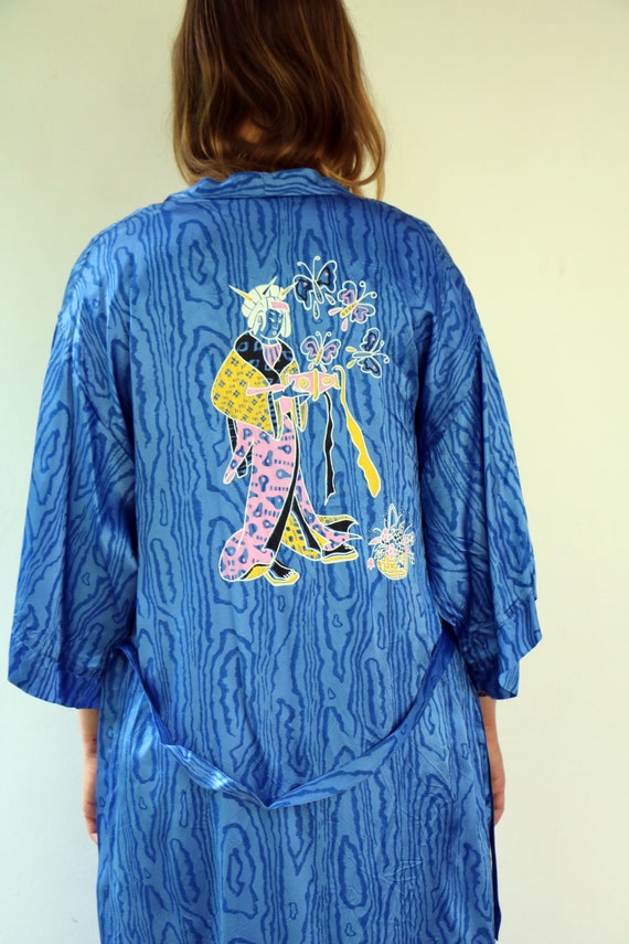 Japanese lady Kimono, Vintage 70s Dress Boho Hippi