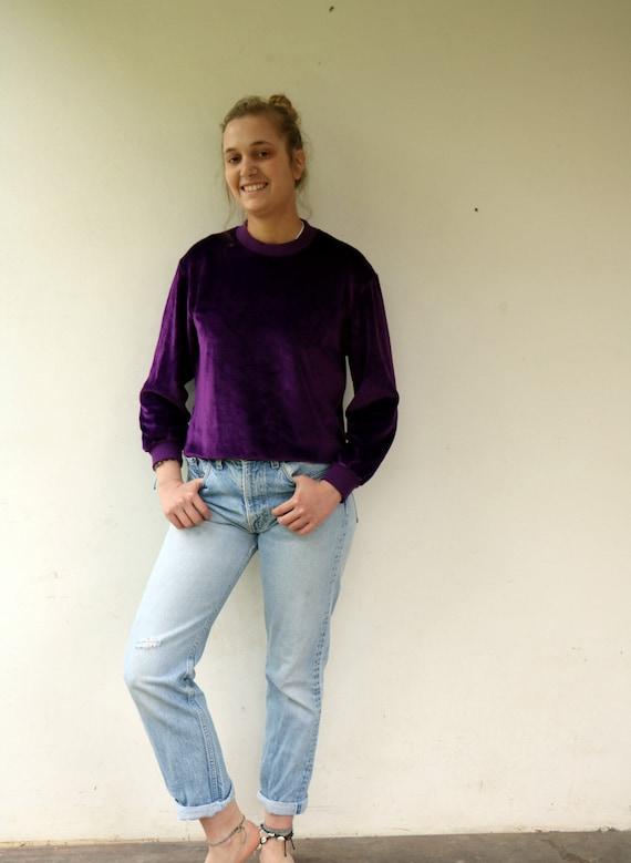 Velvet Sweater, 70s Boho Hippy Hippie Purple Velou