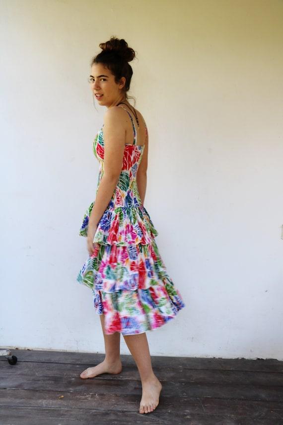 Colorful Summer Dress, Vintage 80s Boho Hippie Ruf