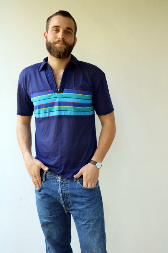 Men's Polo Shirt , Vintage 70s Boho Hipster Blue S