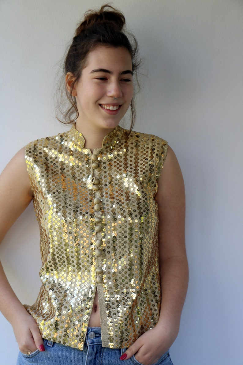 Sequin Top Vintage 60s Glam Gold Sequined Party Disco Shimmy Blouse Boho Hippie Cocktail Shirt Dress tank Chinese style 50s  S