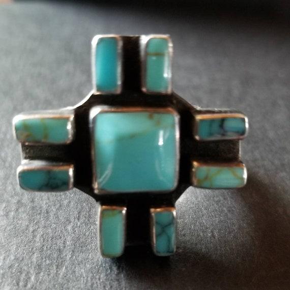 Vintage Turquoise, silver ring, vintage sterling,