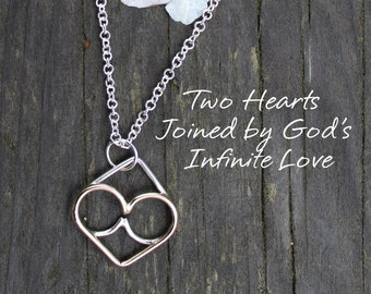 Two Hearts Joined by God's Infinite Love, Endless Love, Infinity Necklace Pendant Sterling Silver Gold Filled
