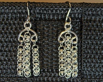 Two Earrings Chandelier Helm Micro Chain Maille Handmade Solid Sterling Silver