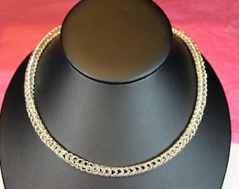 Box Chain Maille Necklace Handmade Solid Sterling Silver