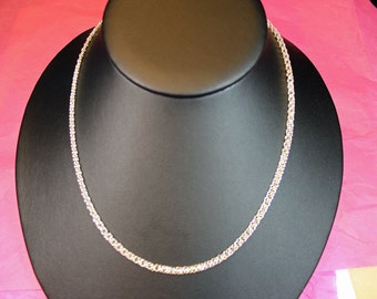 Dainty Necklace Helms Flat Micro Chain Maille Handmade Welded Sterling Silver