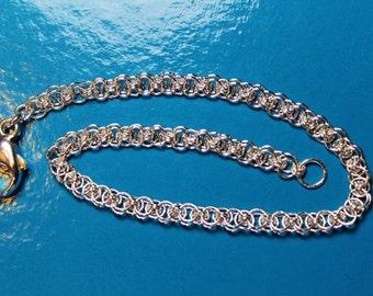 Dainty Sterling Silver Helms Flat Micro Chain Maille Handmade Welded Bracelet