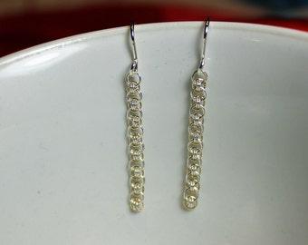 Two Earrings Dainty Helms Flat Micro Chain Maille Handmade Welded Sterling Silver