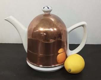 Vintage Porcelain Tea Pot With Copper Insulated Sleeve