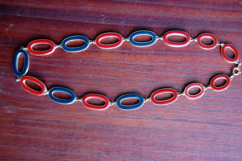 Red and Blue Enamel Reversible Necklace Cream