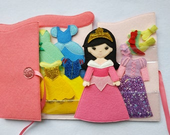 """Princess felt clothes Dress up dolls Quiet toy Paper dolls Felt """"paper"""" doll dressing Personalization gift for girl"""