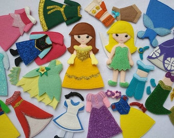"CUSTOM Princess Dress up doll - Felt ""paper"" doll dressing - Educational Sensory Game Gift for toddler Doll and Princess Dress"