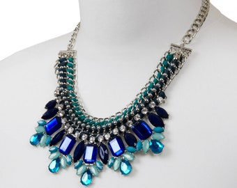 Silver and Blue Statement Jewel Bib Collar Necklace | Gift For Her | Boho Party Jewellery