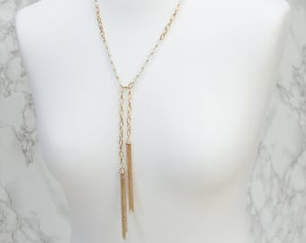 Long Gold Tassel Bohemian Y Necklace Glass Beads | Boho Festival Jewellery | Gifts For Her