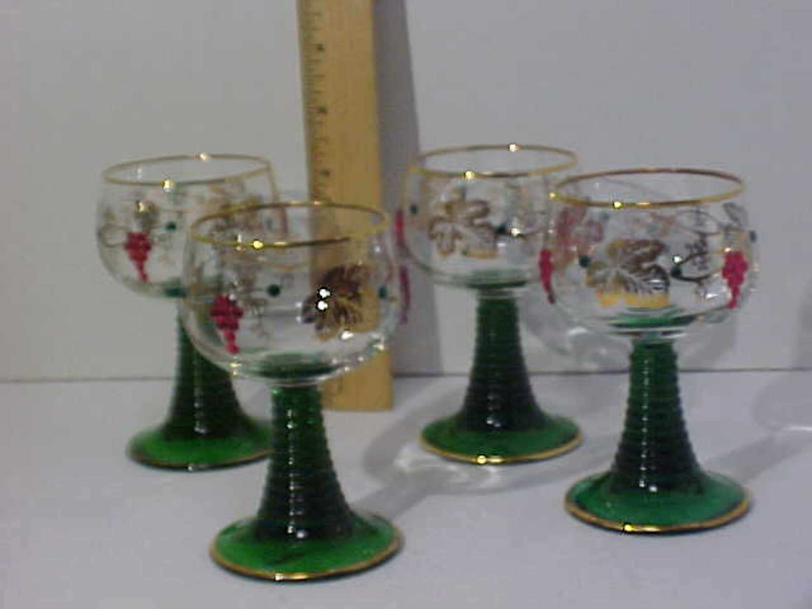 4 ROEMER Rhine Wine Glasses Grapes,& Leaves WITH Swarovski Crystals