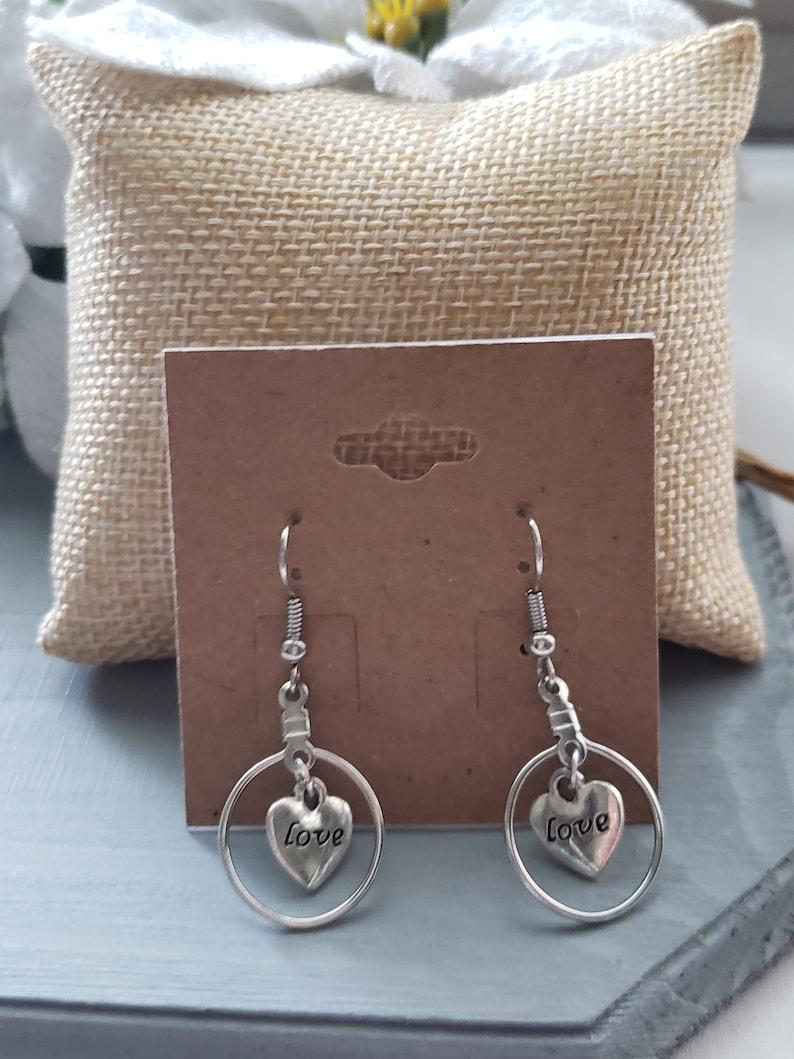 Dangle Earrings Silver Earrings Gift For Women handmade Earrings Love Drop Earrings