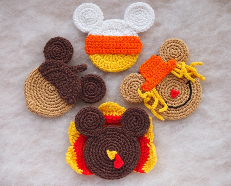 Mickey Mouse Minnie Mouse Crochet Pattern Autumn Ornament Etsy