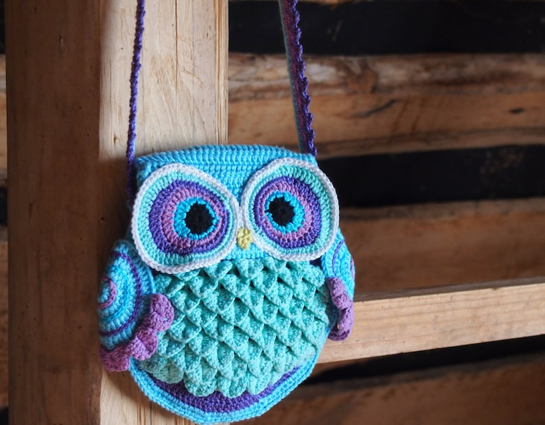 Crochet bag pattern crochet owl pattern crochet purse image 0