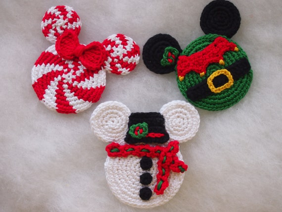 Mickey Mouse Minnie Mouse Crochet Pattern Christmas Ornament Etsy