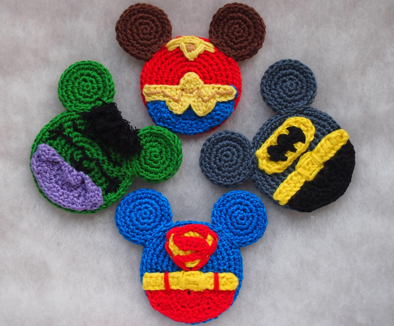 Batman Hulk Superman And Wonder Woman Mickey Head Crochet Etsy