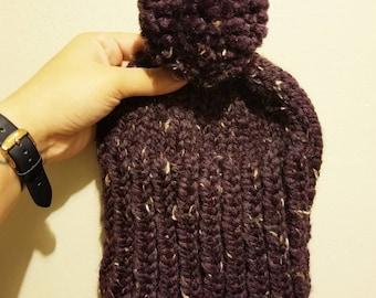 Purple Ribbed Beanie