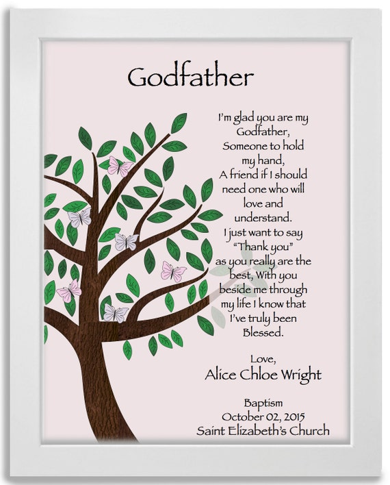 Godfather Godparent Gift Present Personalised A4 Framed | Etsy