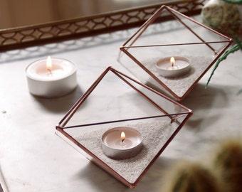 Photophores géométriques en verre. Géométrie sacrée. Cadeau. Terrarium géométrique. Bougeoirs. Bougies. Cire. Cactus