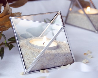 Geometric candle holder. Geometric terrarium. Glass terrarium. Rustic decor. Wedding. Stained glass. Candle party. Valentin's Day. Planter.