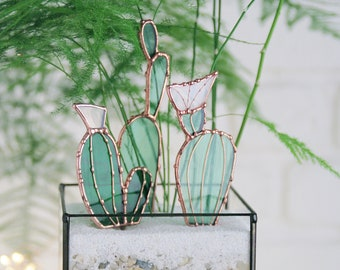 Mini glass cactus. Stained glass. Handmade. Terrarium decor. Low price. Birthday gift. Sun catcher. Planter. Home ornament. Plant decor.