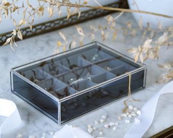 Jewelry glass box. Geometric box. Accessories box. Ring box. Gift for Him. Cufflinks. Valentin's Day. Wedding. Minimalist. Copper.
