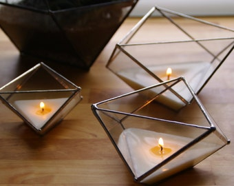 Geometric glass candle holders. Sacred geometry. Gift. Valentin's Day. Geometric terrarium. Stained glass. Candle. Succulents. Home decor.