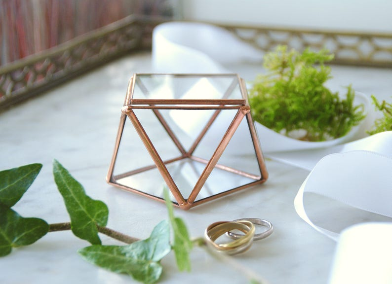 Wedding glass box Wedding proposal D Day Big D Jewelry box Gift Small glass box for wedding rings Valentin/'s Day Geometric
