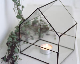 Glass house terrarium - Small - Geometric - Indoor garden - Candle holder - Stained glass - Gift for Him - Desk - Copper - Valentin's Day